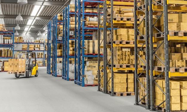 Heftruck aan het werk in een groot magazijn Premium Foto