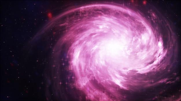 Helder sterrenstelsel. abstracte sterren op zwarte achtergrond. fractal van de fantasie textuur in rode, roze en lichtpaarse kleuren. digitale kunst. 3d-afbeelding Premium Foto
