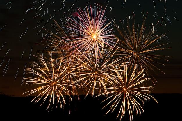 Helder veelkleurig vuurwerk op een feestelijke avond Premium Foto