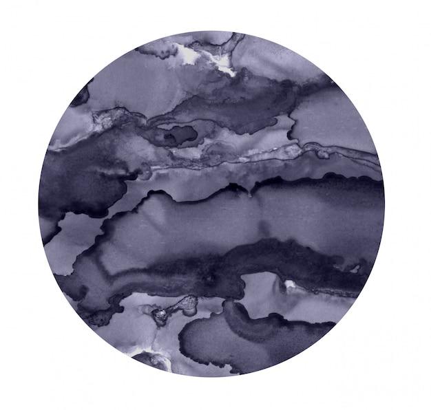 Heldere aquarel plek. geschilderde grijze cirkel. abstracte textuur geïsoleerd op wit. schilderij decoratie. Premium Foto