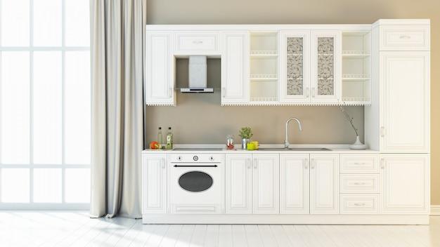 Heldere keuken interieur 3d render Premium Foto