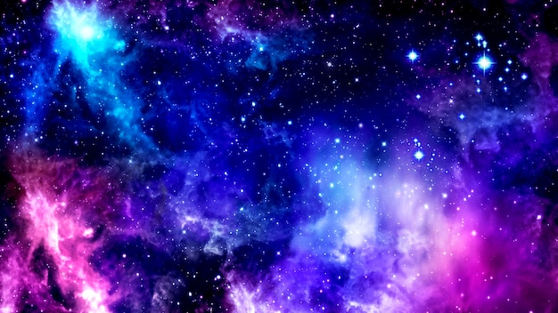 Helderpaarse kosmische achtergrond met nevels en cluster van stralende sterren Premium Foto