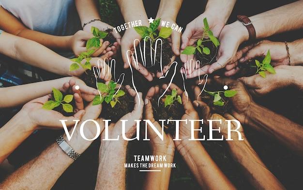 Helping hands volunteer support community service graphic Gratis Foto