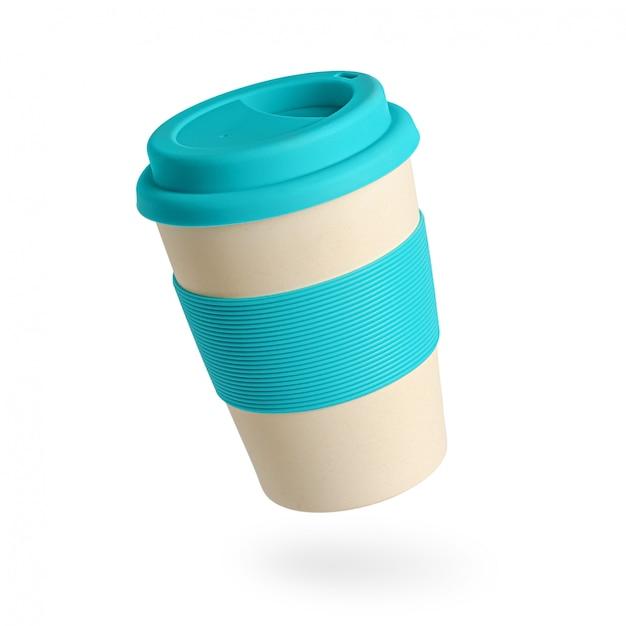 Herbruikbare bamboe koffiekop met blauwe siliconen houder en deksel op wit Premium Foto