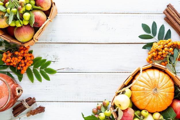 Herfst achtergrond. appels, pompoen, paradijsappels, lijsterbes op een wit hout. Gratis Foto