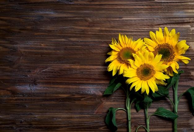 Herfst achtergrond met zonnebloemen Premium Foto