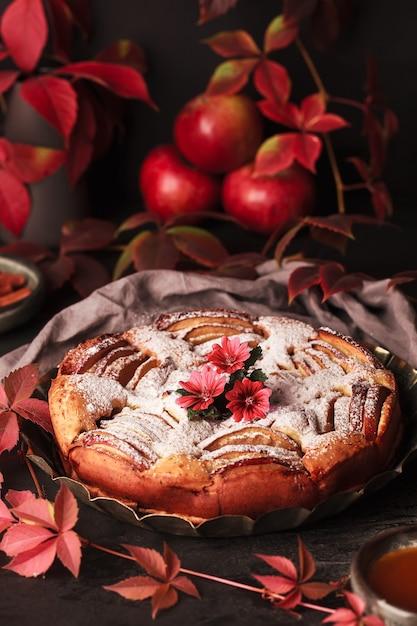 Herfst appeltaart. zelfgemaakte taarten op het oppervlak van druivenbladeren. appeltaart met kaneel. Premium Foto