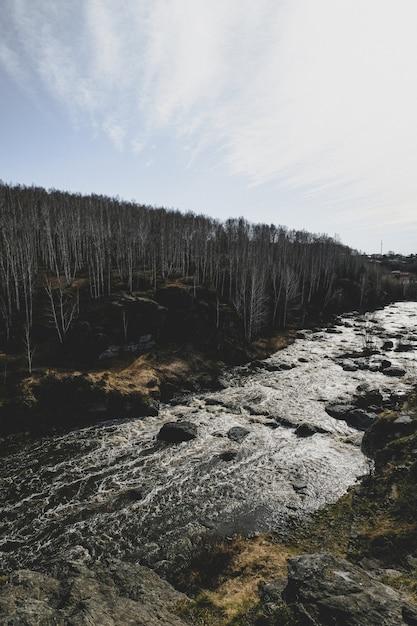 Herfst berg rivier stroom landschap. Premium Foto