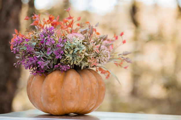 Herfst decor in het bos Premium Foto