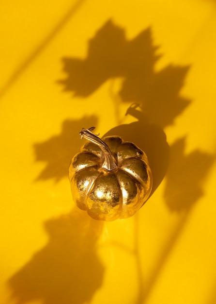 Herfst herfst thanksgiving day samenstelling met decoratieve gouden pompoen en esdoornbladschaduw Premium Foto