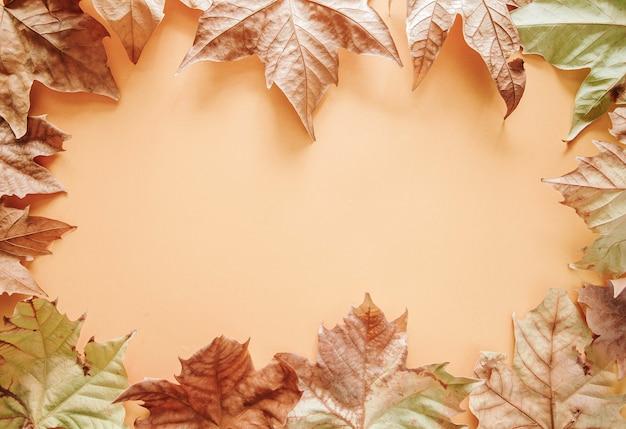 Herfst samenstelling. autumn frame of maple leaves op bruine achtergrond Premium Foto
