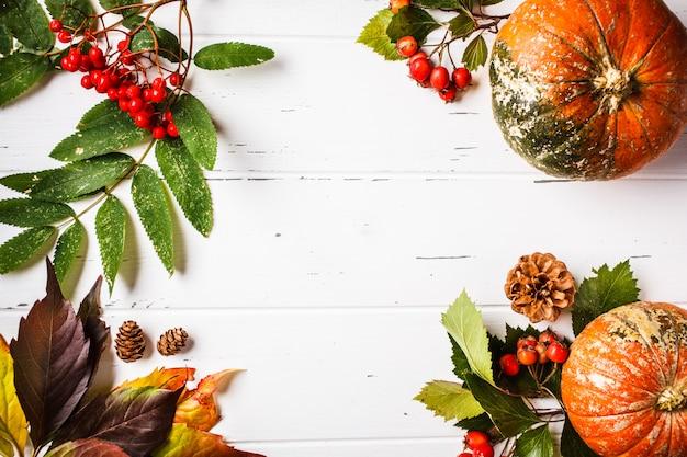 Herfst samenstelling. de herfstbladeren, bessen en pompoen op witte achtergrond, exemplaarruimte. Premium Foto