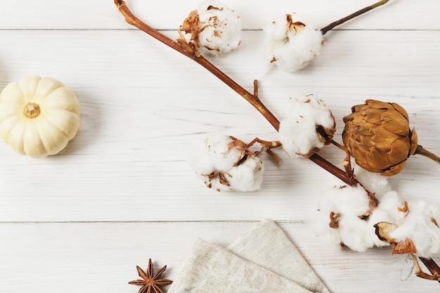 Herfst samenstelling. kleine gele pompoen, anijs, hop en tak van katoenen bloem, bovenaanzicht, close-up op wit hout. Premium Foto