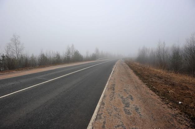 Herfst weg in de mist Premium Foto