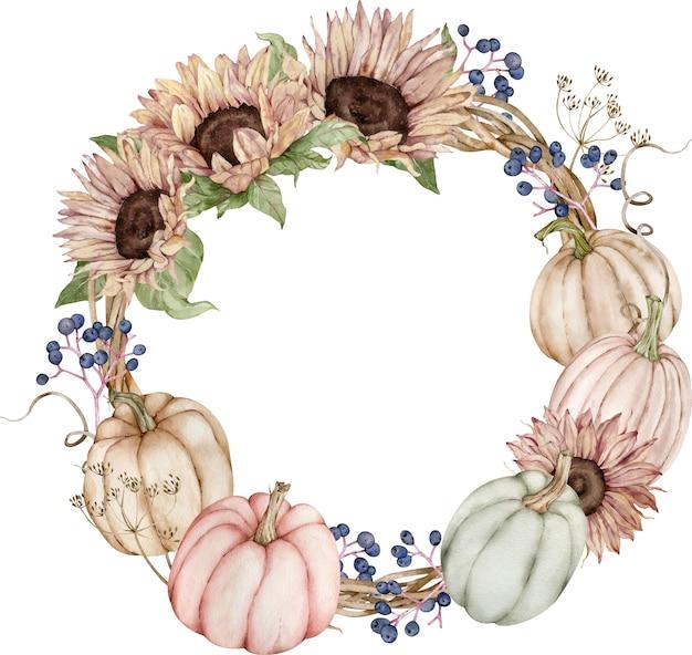 Herfstkrans met pompoenen en zonnebloemen. Premium Foto