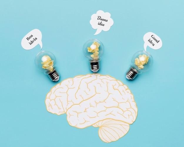 Hersenen tekenen met ideeën Gratis Foto