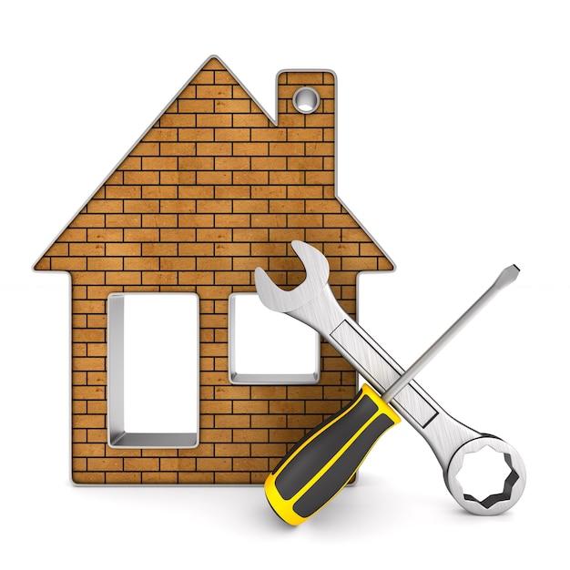 Herstel huis op witte ruimte. geïsoleerde 3d-afbeelding Premium Foto