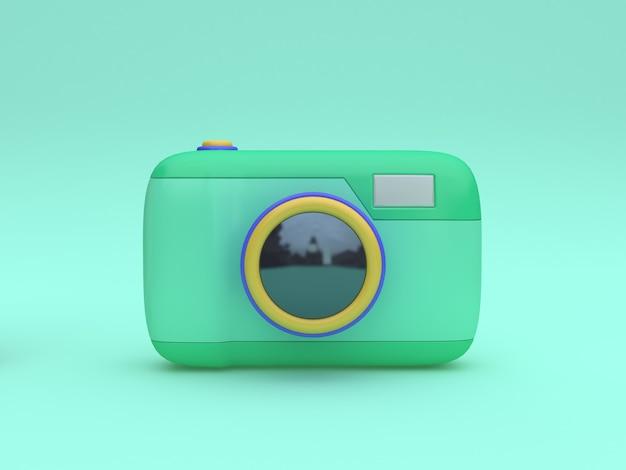 Het 3d groene stuk speelgoed de stijl minimale groene 3d teruggeven van het camerabeeldverhaal Premium Foto