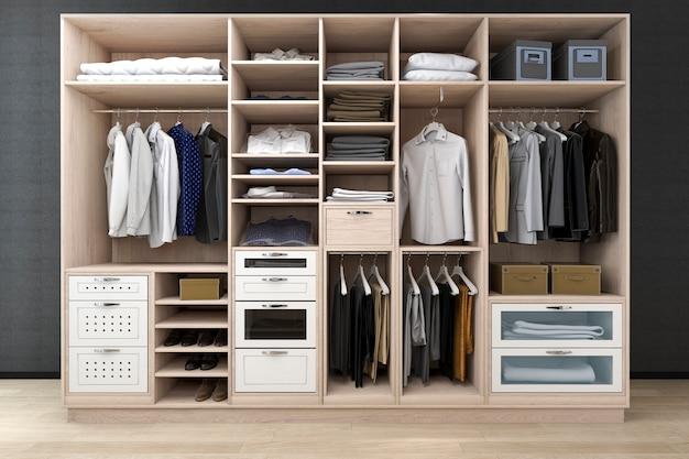 Het 3d teruggeven minimale skandinavische gang in kast met houten garderobe Premium Foto