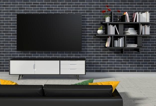 Koraalkleur De Woonkamer : Het d teruggeven van binnenlandse moderne woonkamer met smart tv