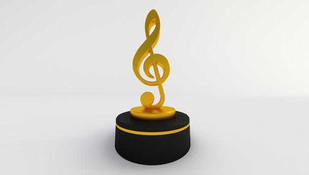 Het 3d teruggeven van een gouden geïsoleerde muzieknota Premium Foto