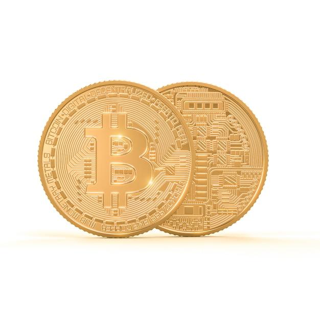 Het 3d teruggeven van gouden bitcoinmuntstuk op wit Premium Foto