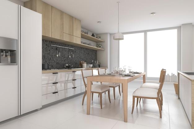 Het 3d teruggeven van luxe moderne keuken Premium Foto