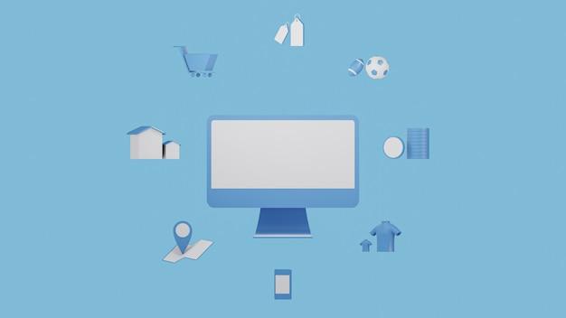 Het 3d teruggeven van pictogram om op blauwe toon en achtergrond, 3d illustratie te winkelen Premium Foto