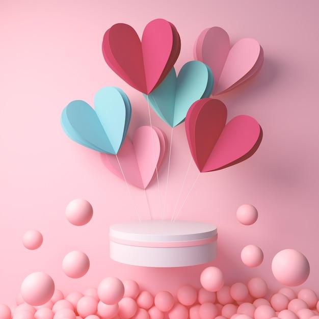 Het 3d teruggeven van podiumvertoning met hart en roze bal, gelukkige valentijnskaartendag Premium Foto