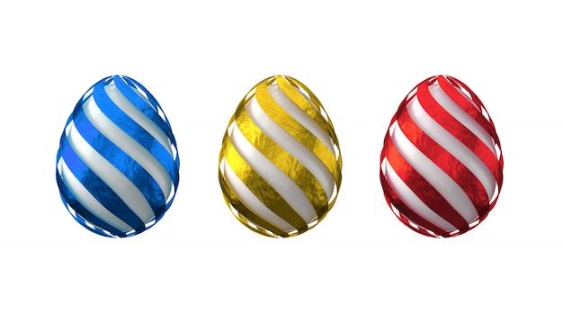 Het 3d teruggeven van verfraaide eieren in multi-coloured folie. pasen-ontwerpelementen. geïsoleerd Premium Foto