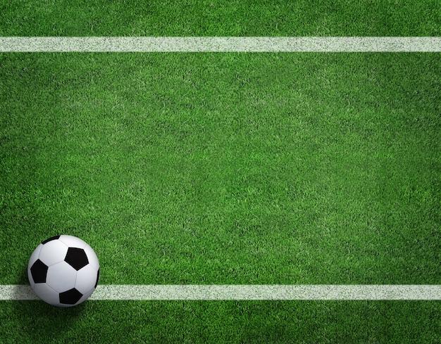 Het 3d teruggeven van voetbalbal met lijn op voetbalgebied. Premium Foto