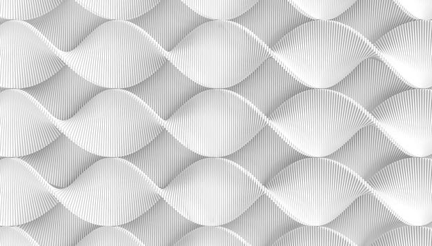 Het 3d teruggeven van wit geometrisch verdraaid lint Premium Foto