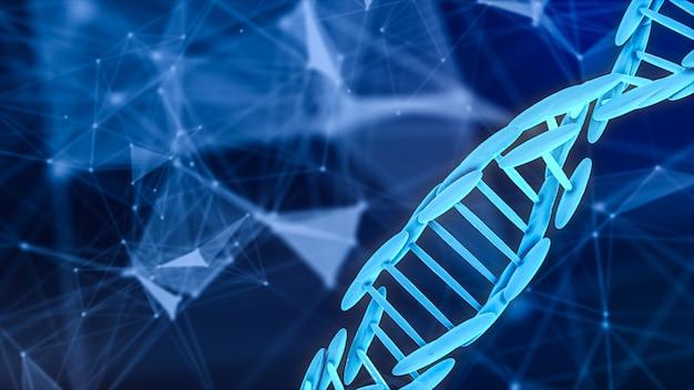 Het abstracte 3d teruggeven van dna-bloedcel op wetenschappelijke achtergrond. Premium Foto