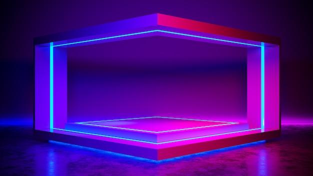 Het abstracte abstracte futuristische, ultraviolette 3d concept van de driehoeksstadion geeft terug Premium Foto