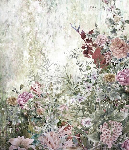 Het abstracte kleurrijke bloemenwaterverf schilderen. lente veelkleurig van aard Premium Foto