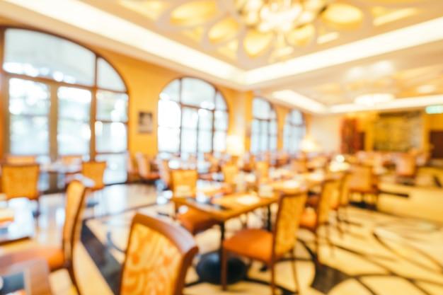 Het abstracte onduidelijke beeld en defocused ontbijtbuffet in hotelrestaurant en het binnenland van de koffiewinkelkoffie Gratis Foto