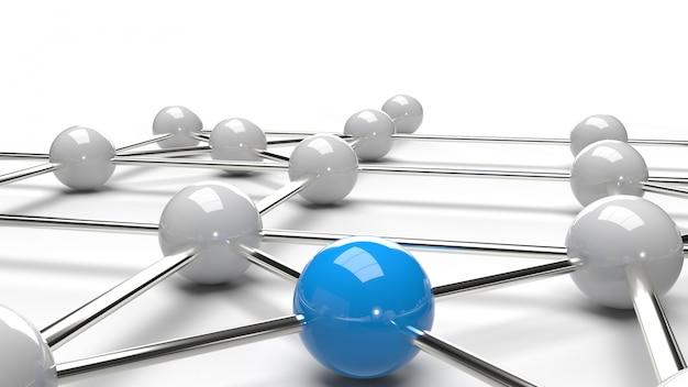 Het abstracte ontwerp verbinding ontwerp blauwe en witte bol netwerkstructuur 3d-rendering. Premium Foto