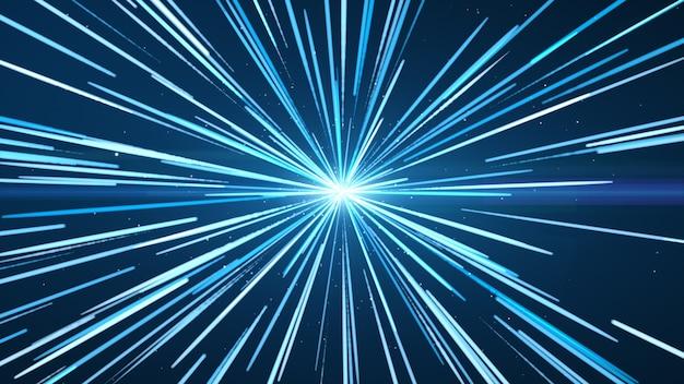 Het blauw in het midden, met blauwe en witte lichtlijnen. Premium Foto