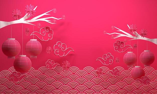 Het chinese nieuwjaarbanner 3d teruggeven als achtergrond Premium Foto