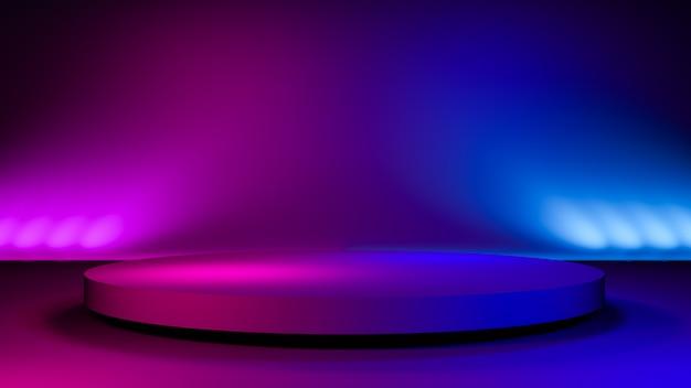 Het cirkelfase, abstracte futuristische achtergrond, ultraviolet 3d concept, geeft terug Premium Foto