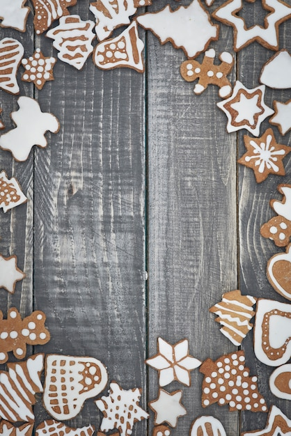 Het frame van kerstkoekjes Gratis Foto