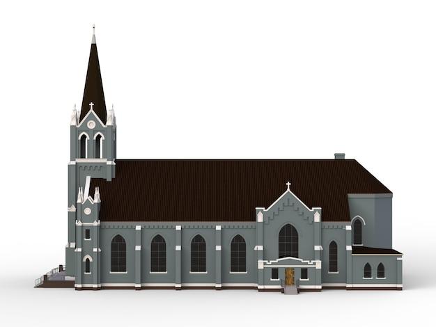 Het gebouw van de katholieke kerk, uitzicht van verschillende kanten. driedimensionale illustratie op een witte achtergrond. 3d-weergave Premium Foto