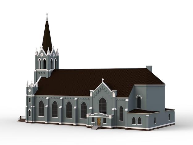 Het gebouw van de katholieke kerk, uitzicht van verschillende kanten. driedimensionale illustratie op een witte achtergrond Premium Foto