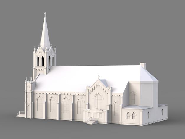 Het gebouw van de katholieke kerk, uitzicht van verschillende kanten. driedimensionale witte illustratie op een grijs oppervlak Premium Foto