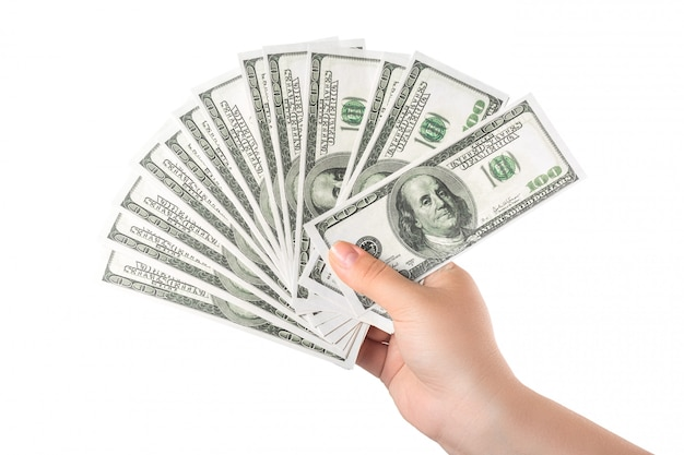 Het geld van de handholding honderd dollarbankbiljetten op wit worden geïsoleerd dat Premium Foto