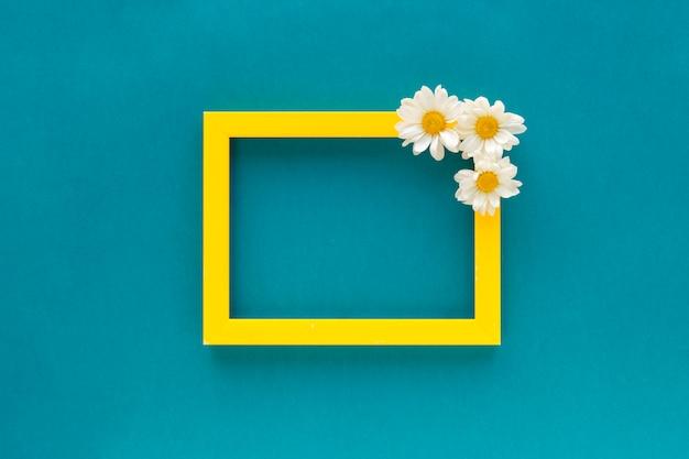Het gele kader van de grens lege foto dat met margrietbloemen wordt verfraaid op blauwe achtergrond Gratis Foto