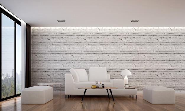 Het gezellige interieur en mock-up meubels van woonkamer en witte bakstenen muur textuur achtergrond en 3d-rendering Premium Foto