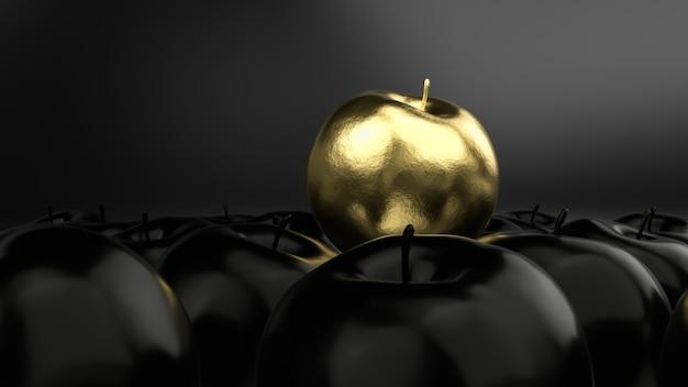 Het gouden idee van de appelluxe op zwarte 3d achtergrond, geeft terug. Premium Foto