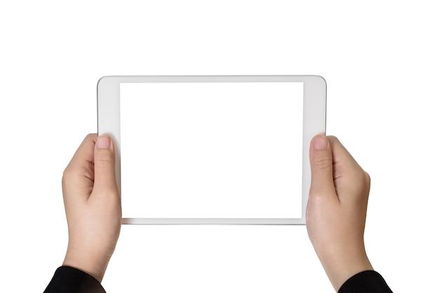 Het handmeisje die tablet gebruiken isoleerde witte achtergrond Premium Foto