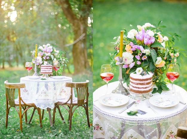 Het huwelijkslijst van het landschap met cake in de verse lucht Gratis Foto